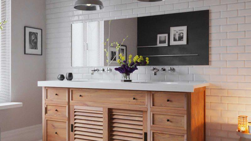 meuble salle de bain en teck et bois massif