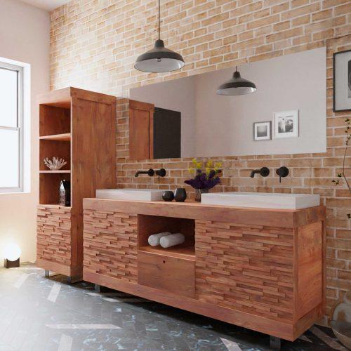 meuble de salle de bain en teck et bois massif