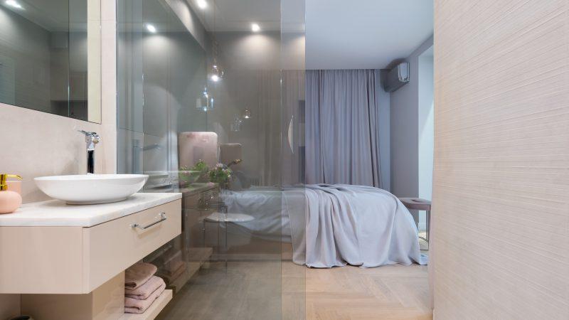 salle de bain ouverte sur chambre